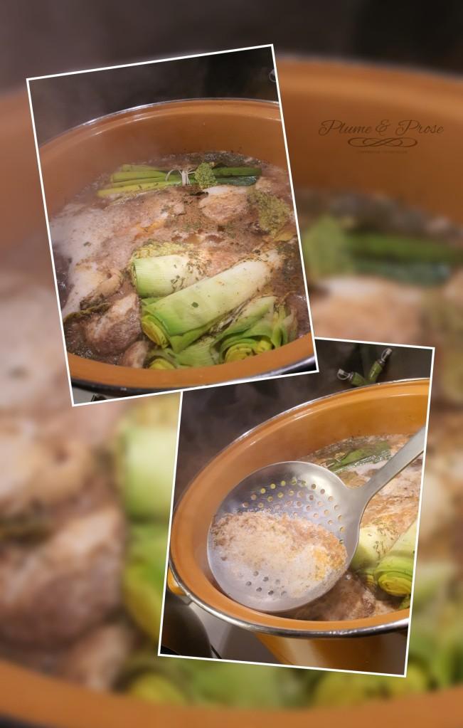 Préparation de la poule au pot