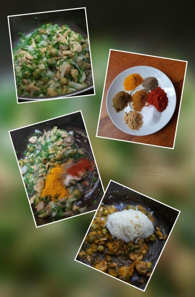 Préparation du tajine de poulet au citron et olives