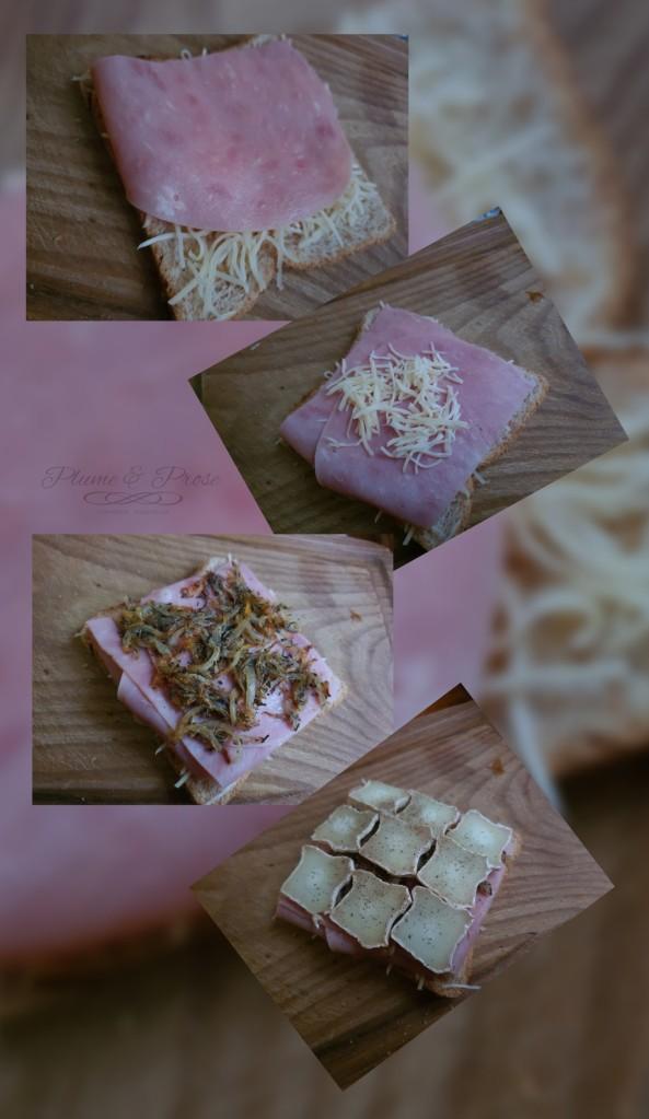 Préparation du Croque-chèvre au jambon et sa compotée d'oignons