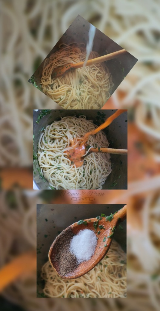 Préparation des spaghettis alla gremolata
