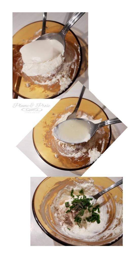 Préparation d'un bagel au saumon fumé et fromage frais