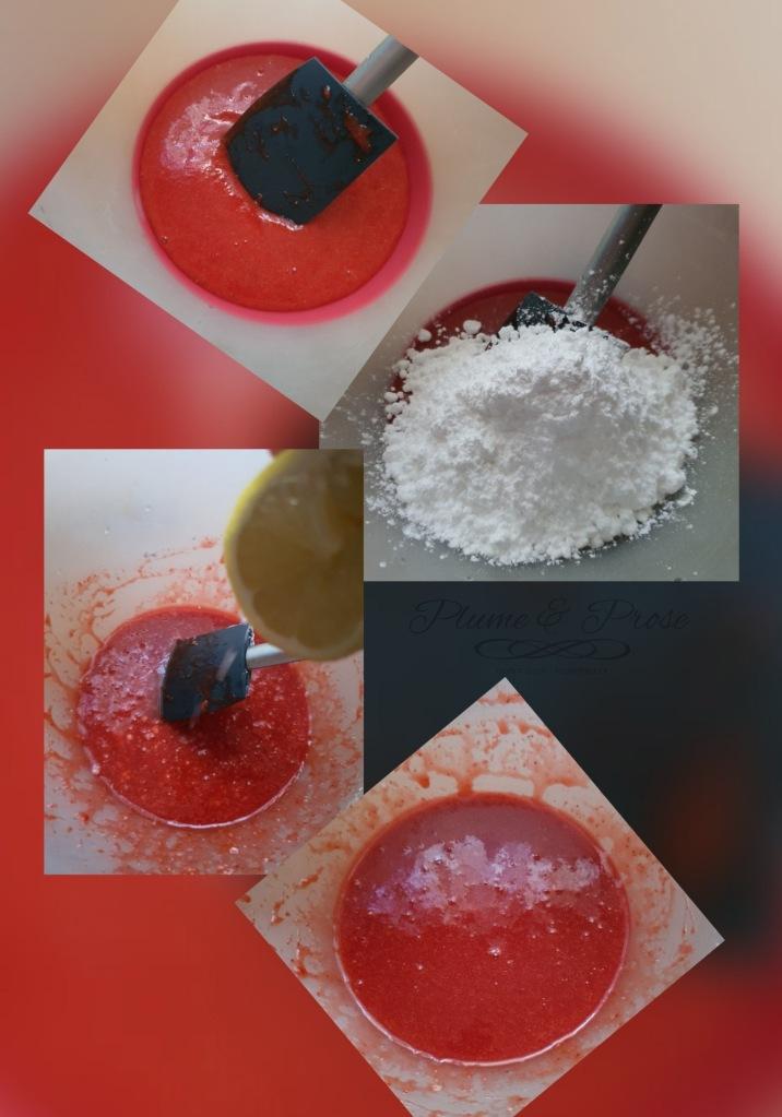 Préparation de glace maison à la fraise