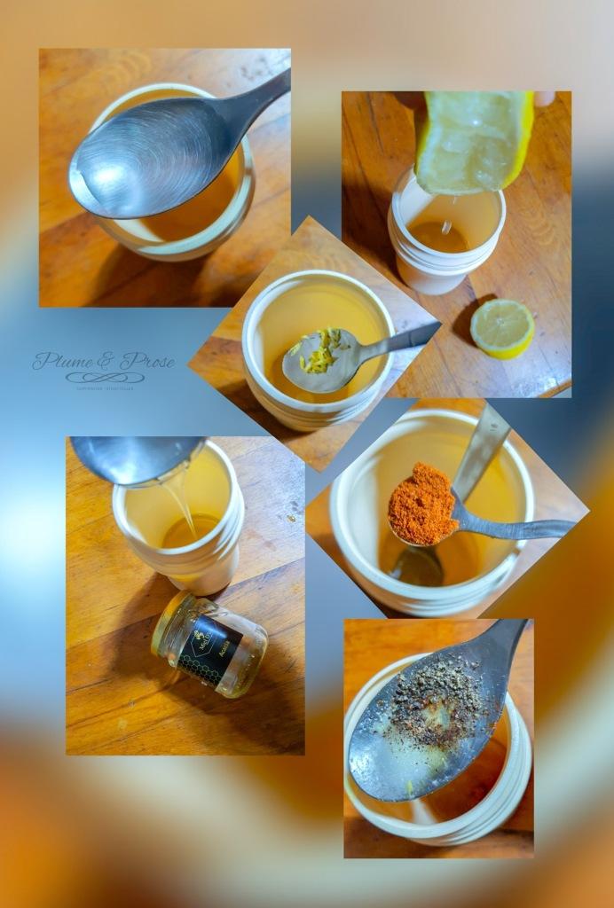 Préparation de la Vinaigrette au miel et au citron