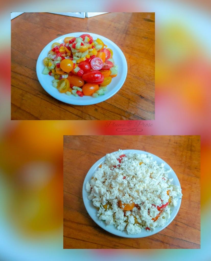"""Préparation de la """"Sopska"""" ou la salade monténégrine de saison"""