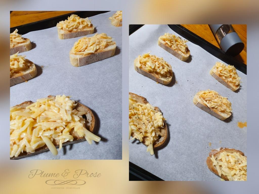 Préparation des croûtes au fromage