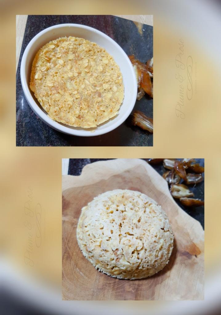 """Préparation du Bowl Cake """"health"""" Banane-Dattes"""