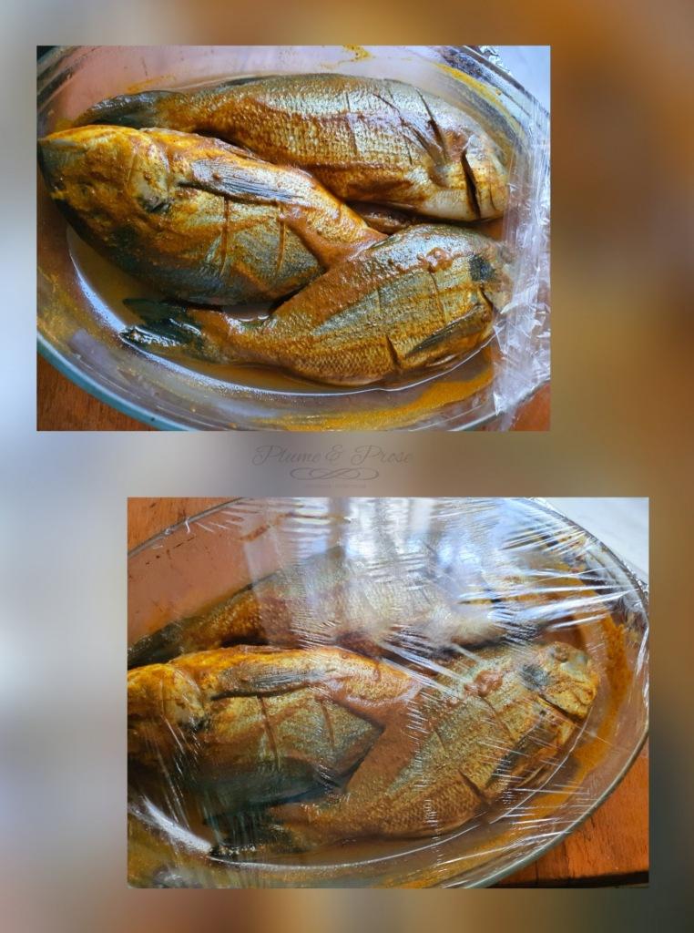 Préparation du poisson grillé au four