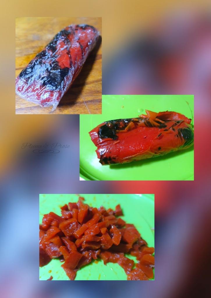 Préparation d'une salade de riz au thon, champignons et poivrons.