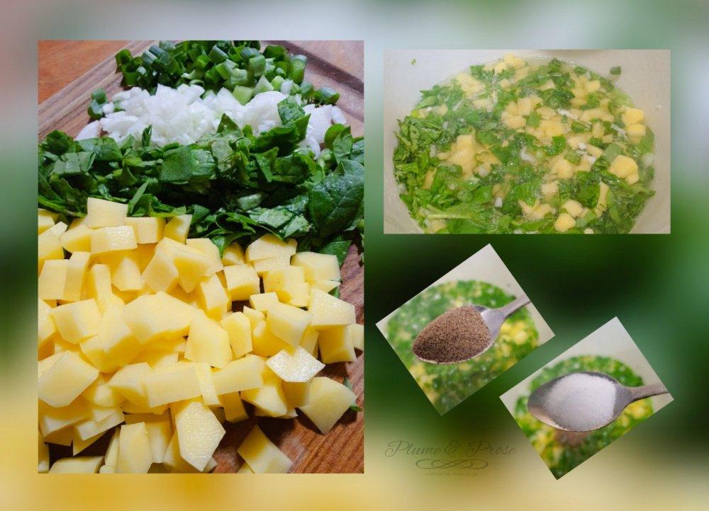 """Préparation du """"Lekhotloane"""" ou le boeuf pilé sur lit de morogo aux pommes de terre"""