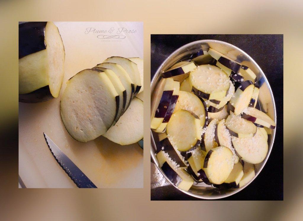 Préparation de la moussaka