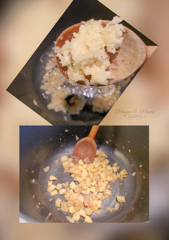 Préparation des pâtes aux artichauts et sardines