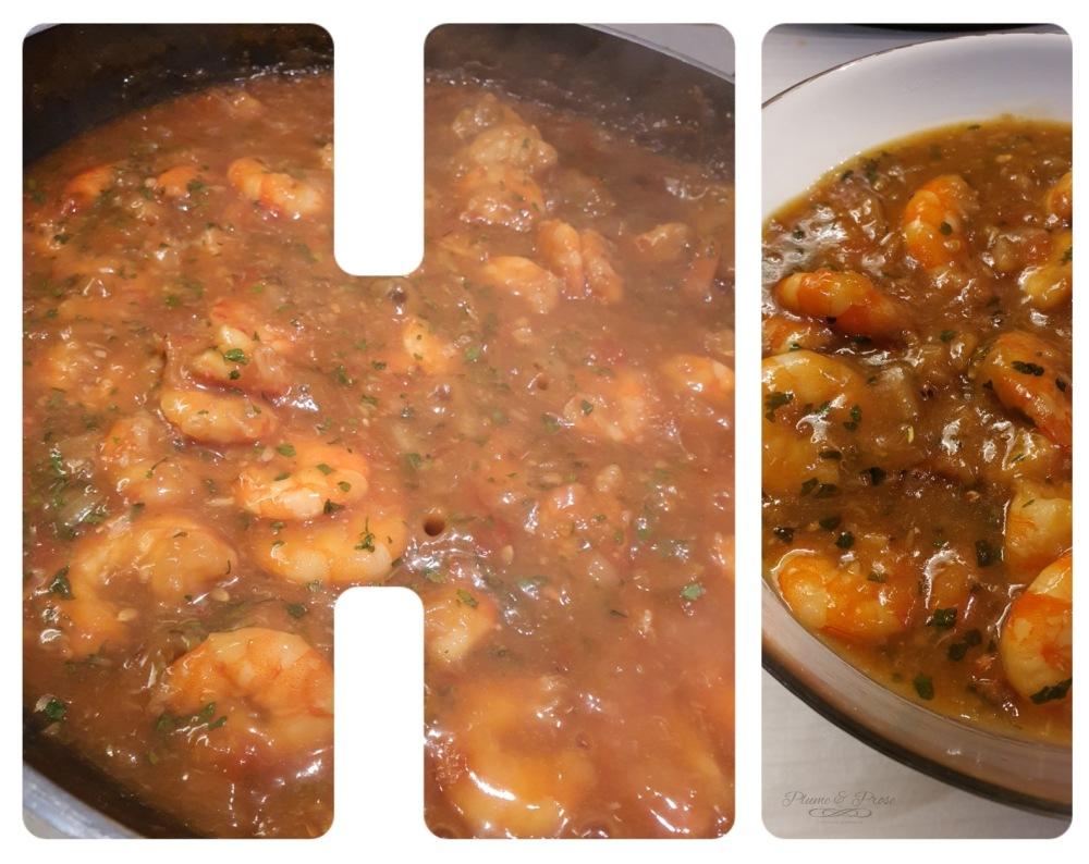 Préparation des crevettes sauce piquante