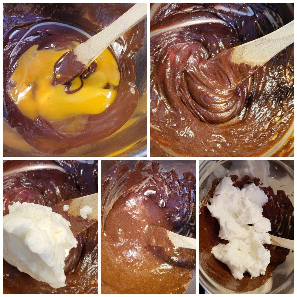 Préparation de la charlotte poire-chocolat