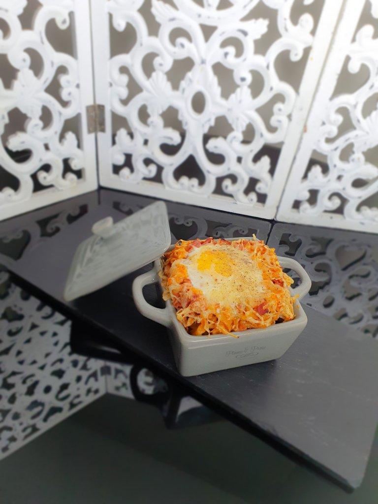 Force et gourmandise se retrouvent dans ce gratin au chorizo surmonté d'oeufs