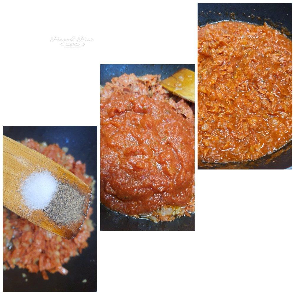 Préparation du gratin de chorizo et oeufs