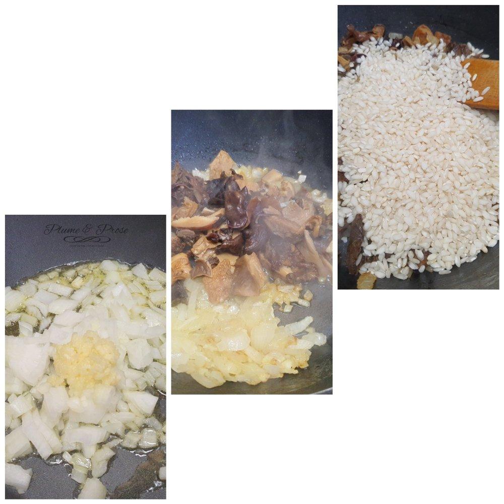 Préparation du risotto aux champignons