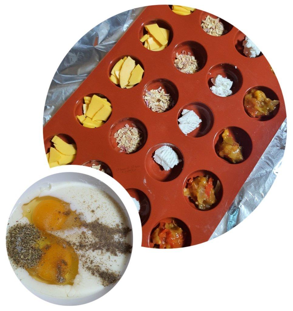 Préparation des bouchées d'omelettes