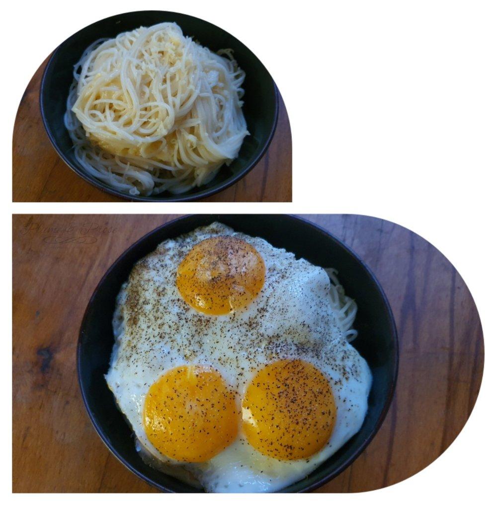 Préparation des Spaghetti au Comté et œufs à cheval du Chef Philippe Etchebest
