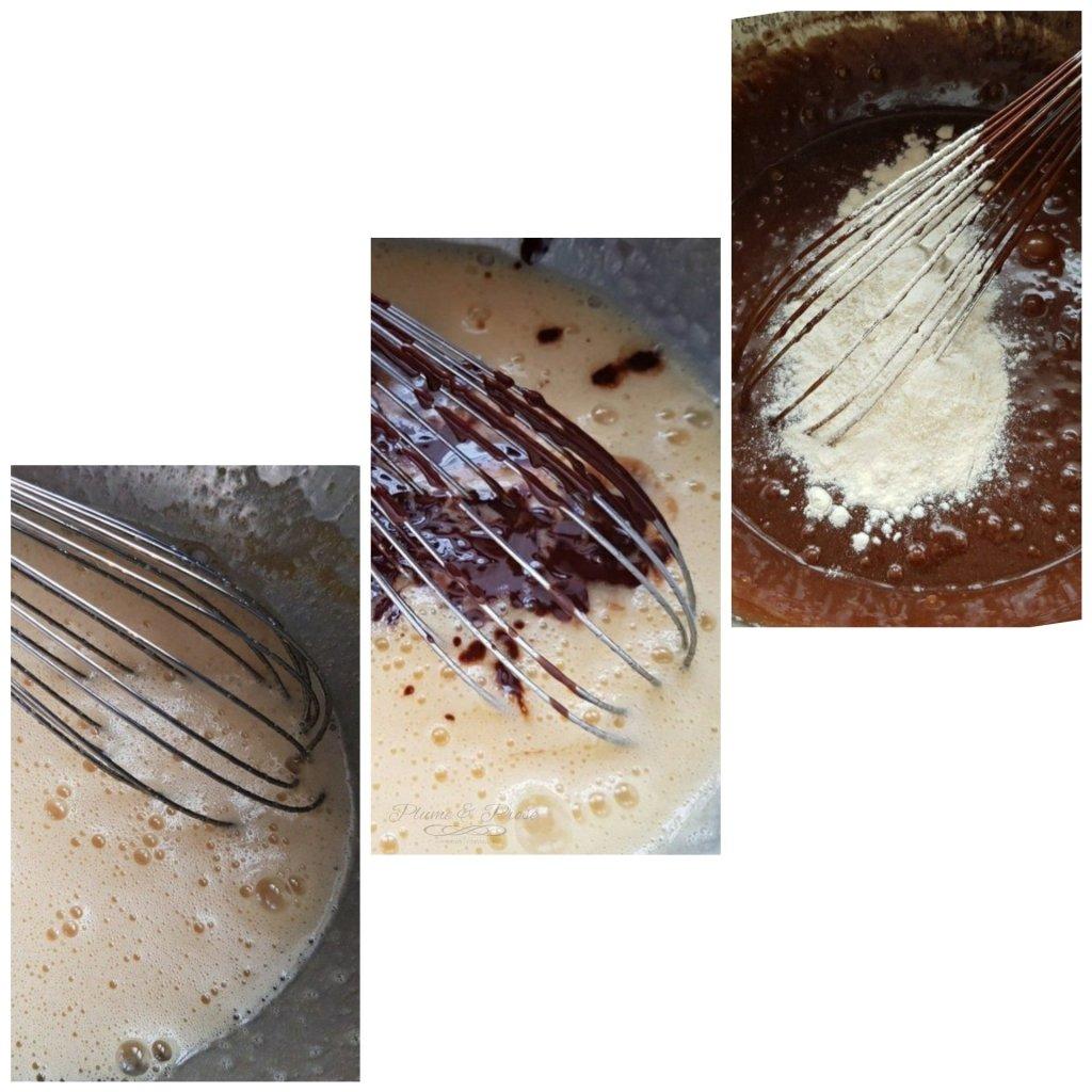Préparation du fondant poire-chocolat