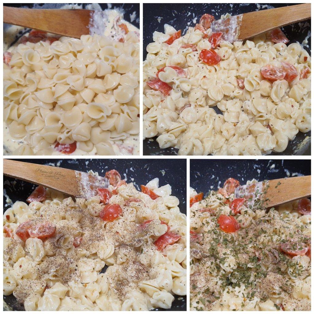 Préparation des pâtes sauce chèvre