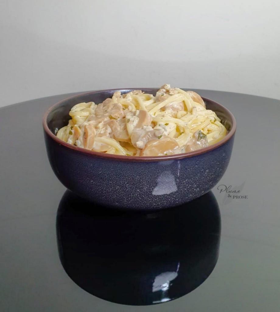 Succombez à ces délicieuses Pâtes crémeuses au chèvre et champignons
