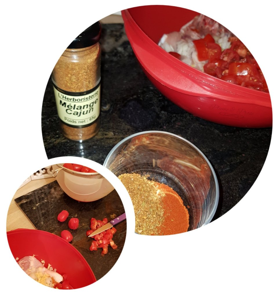 Préparation du poulet Cajun au four