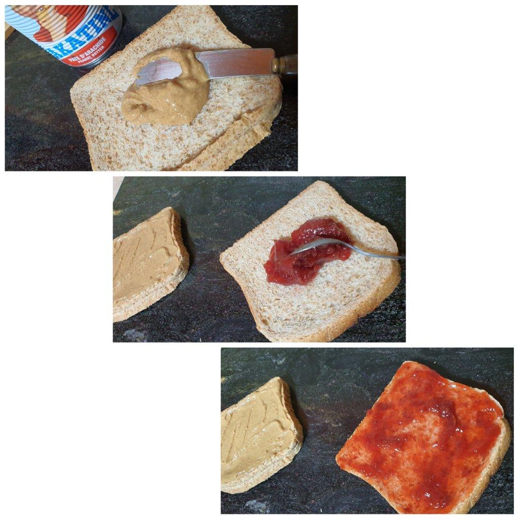 Préparation du Sandwich au beurre de cacahuète et à la confiture