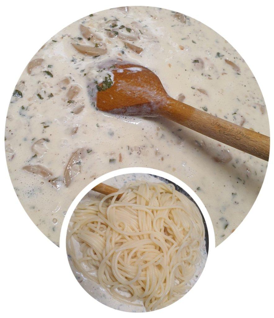 Préparation des pâtes crémeuses au chèvre et champignons