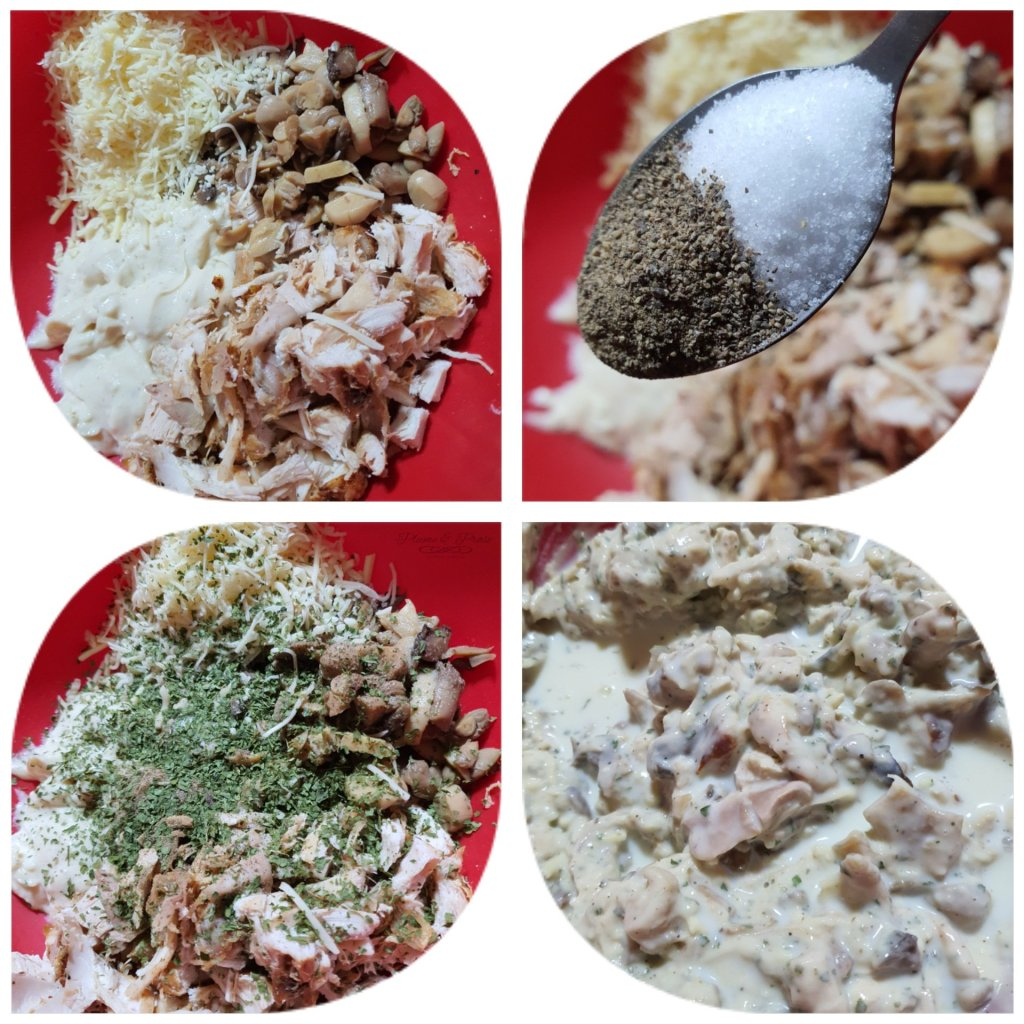 Préparation du poulet béchamel
