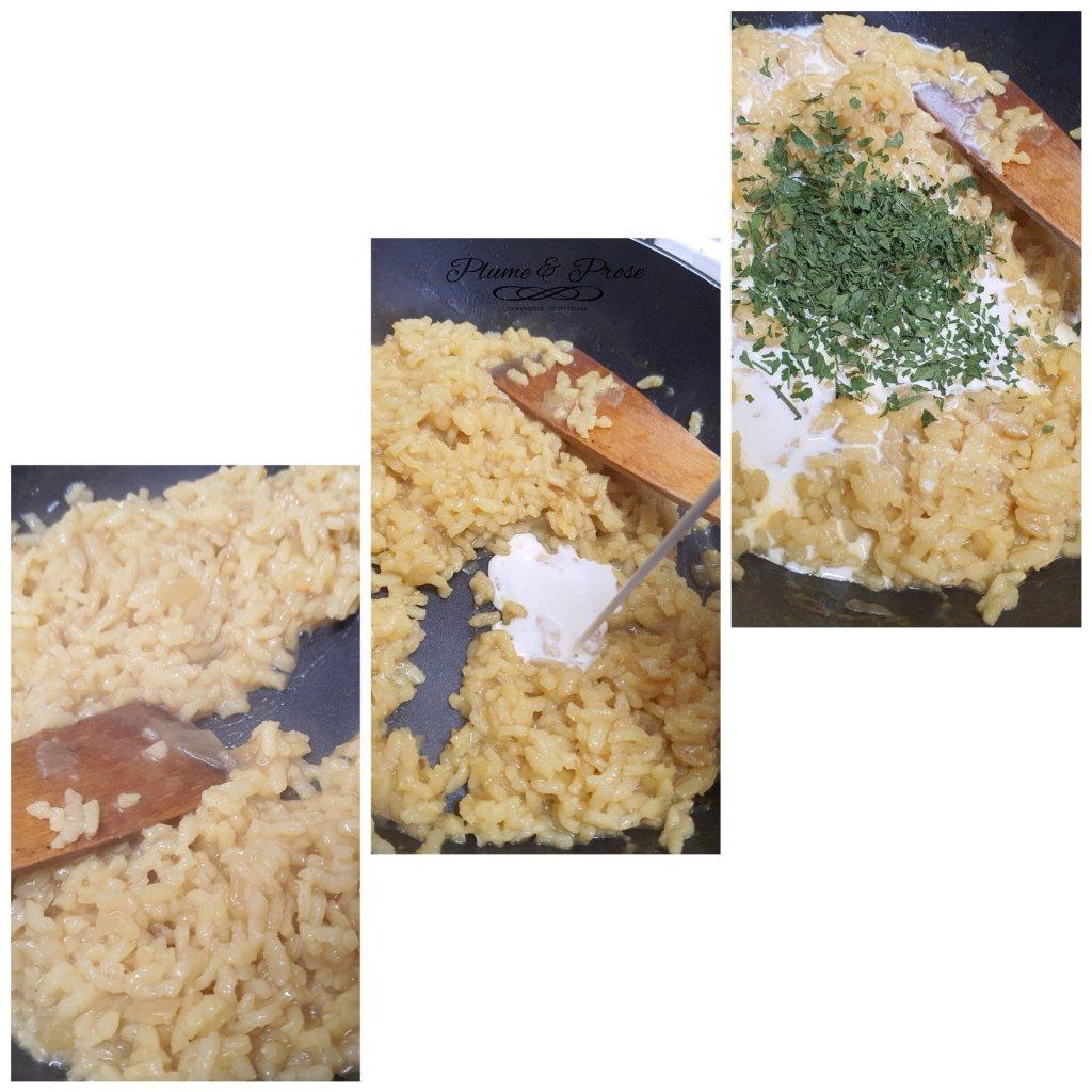 Préparation du risotto au saumon fumé