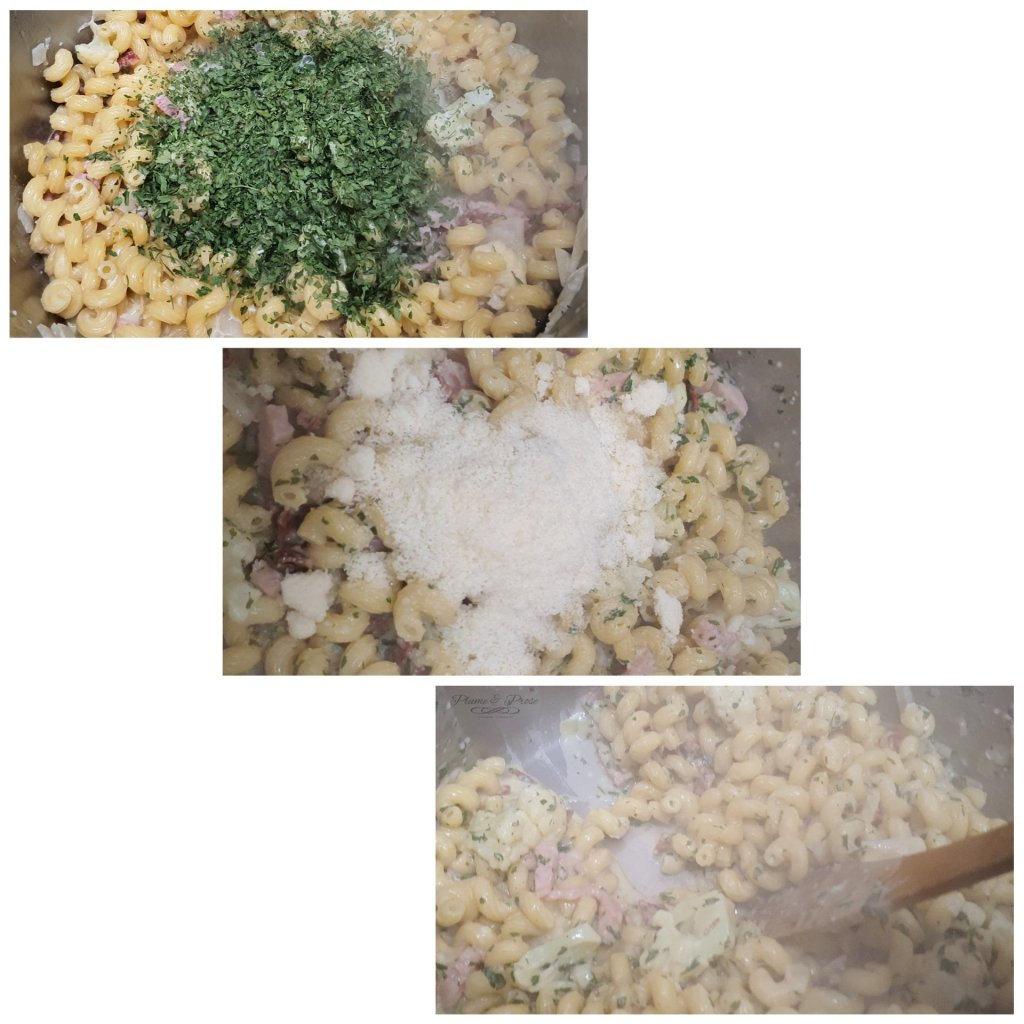 "Préparation du ""One Pan Pasta Lardons Chourizo"""