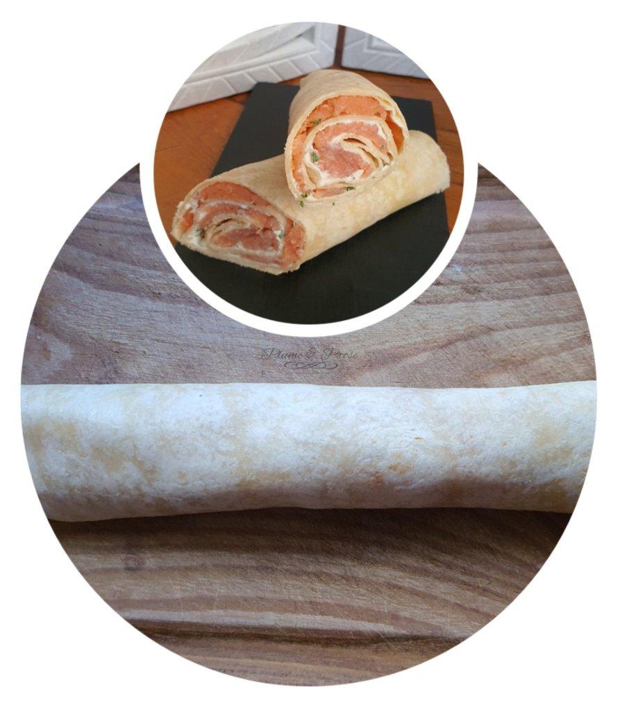 Préparation des wraps saumon
