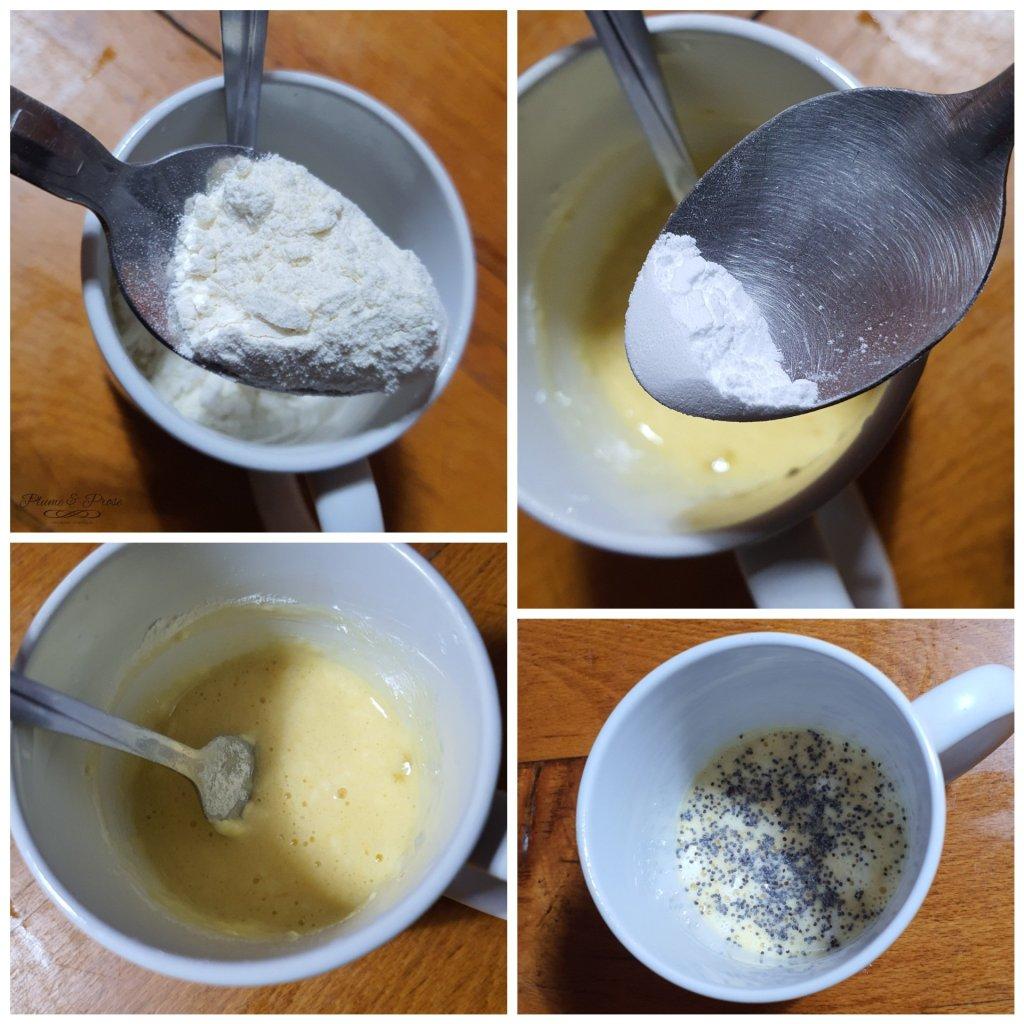 Préparation du mugcake citron pavot sans beurre