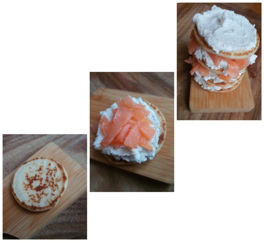 Préparation de la charlotte salée au saumon fumé et fromage frais