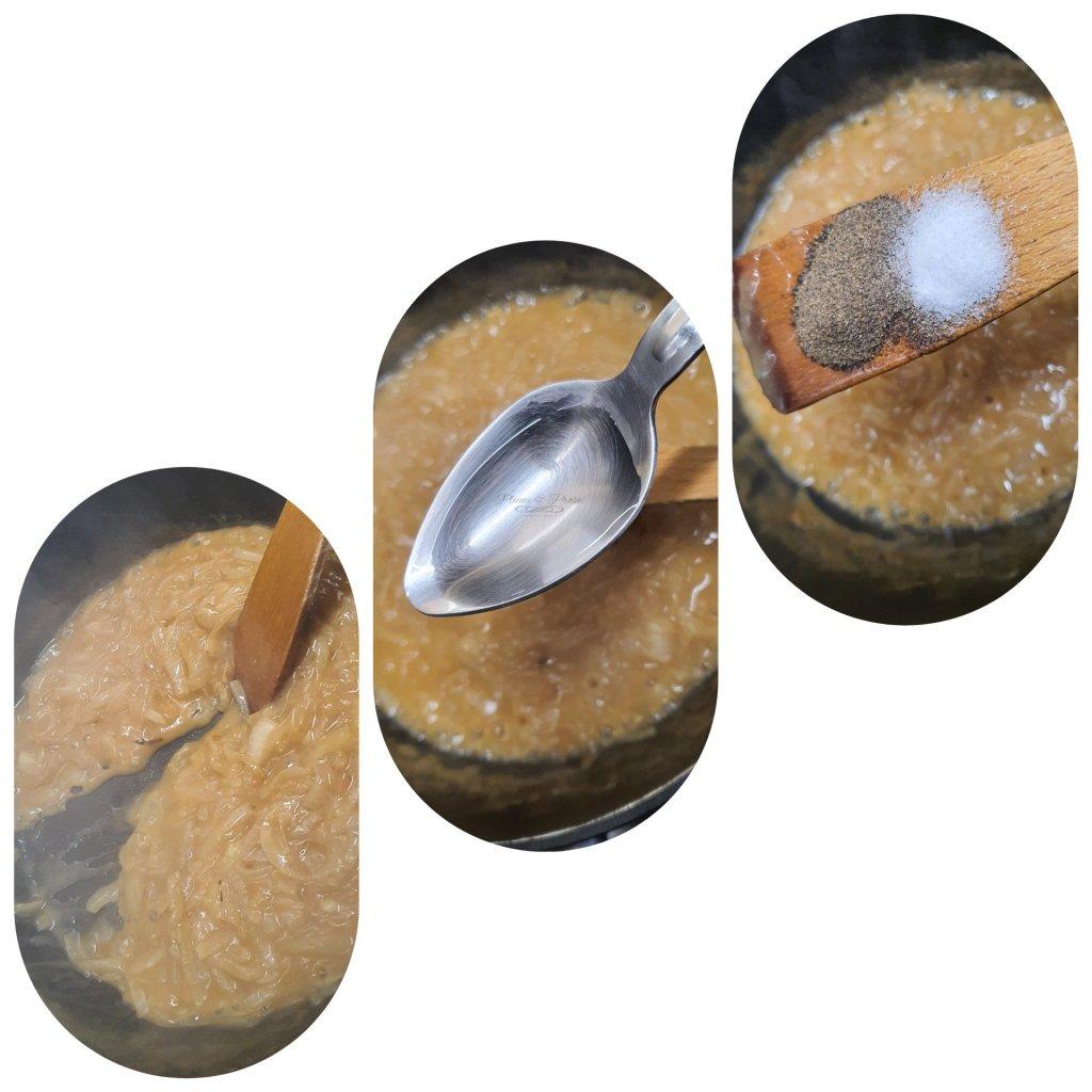 Préparation de la sauce brune aux oignons