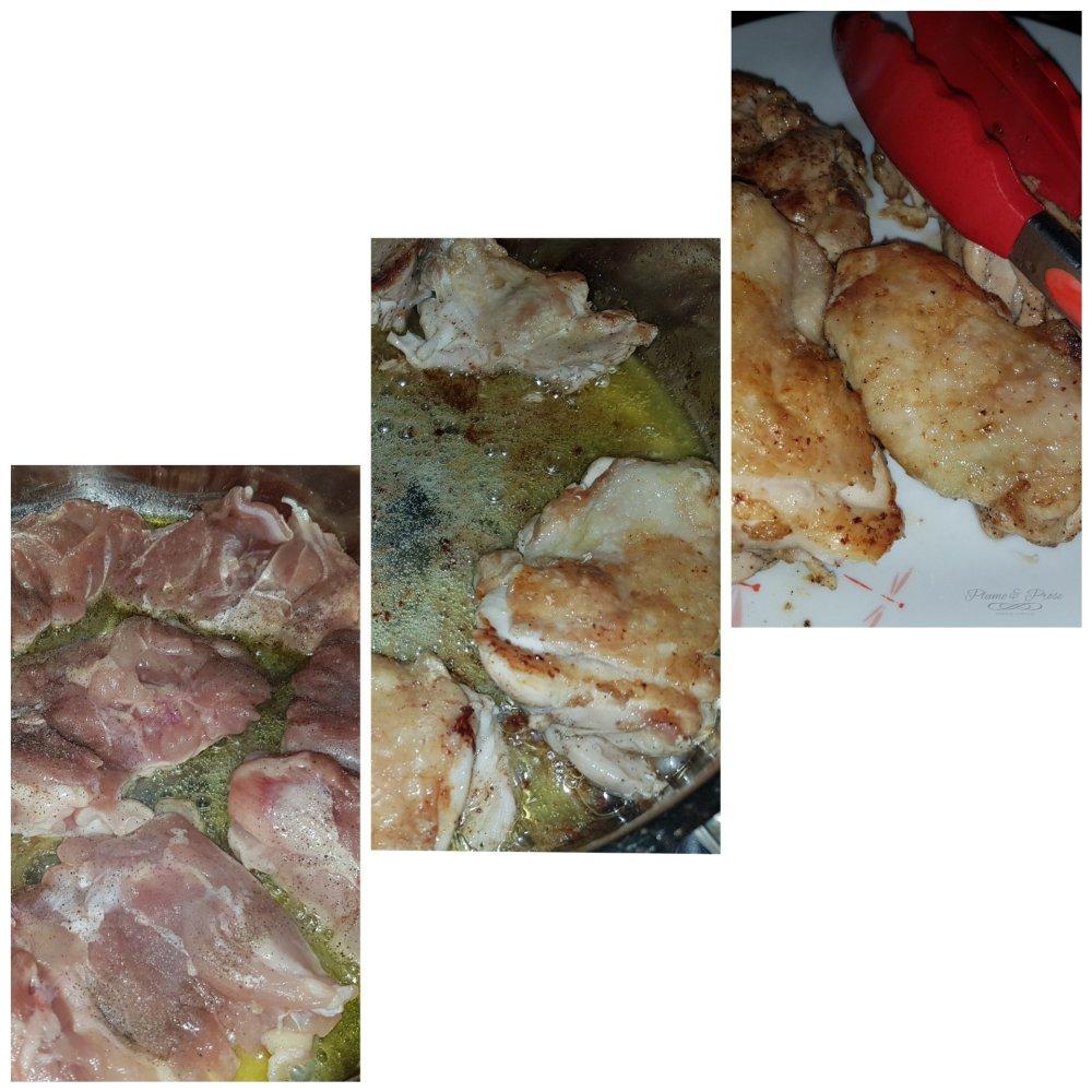 Préparation du poulet sauce crémeuse à l'ail et au citron