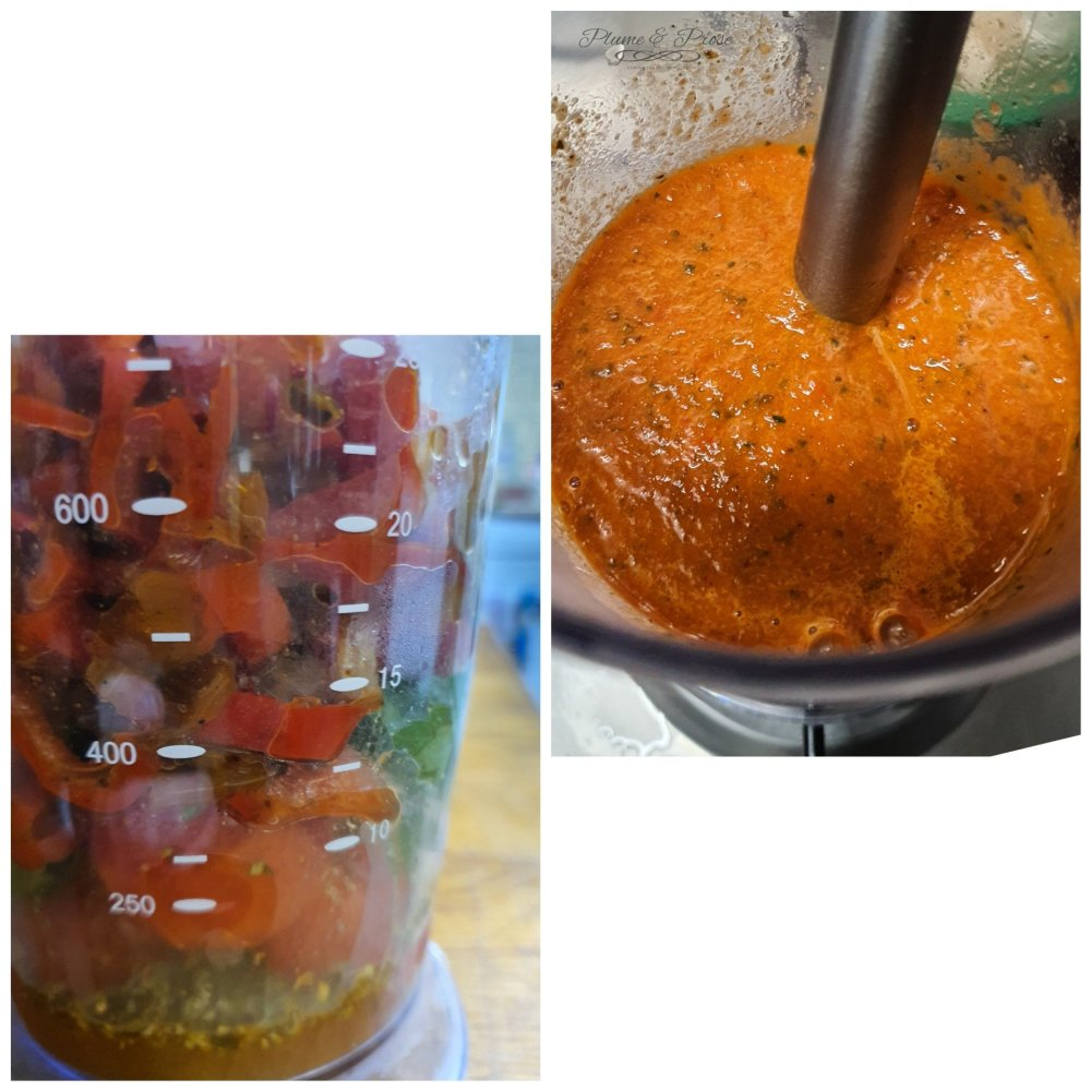 Préparation des linguine sauce poivron