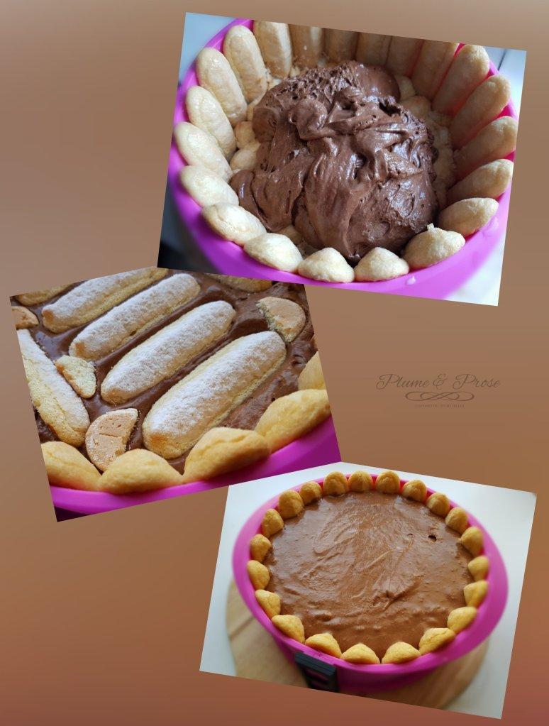 Préparation de la charlotte chocolat fruits rouges