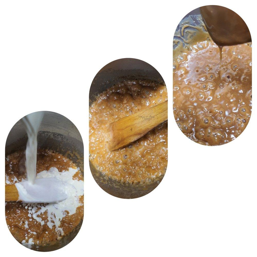 Préparation du caramel au beurre salé à la vanille