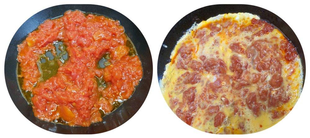 Préparation de l'Omelette aux tomates azerbaïdjanaise