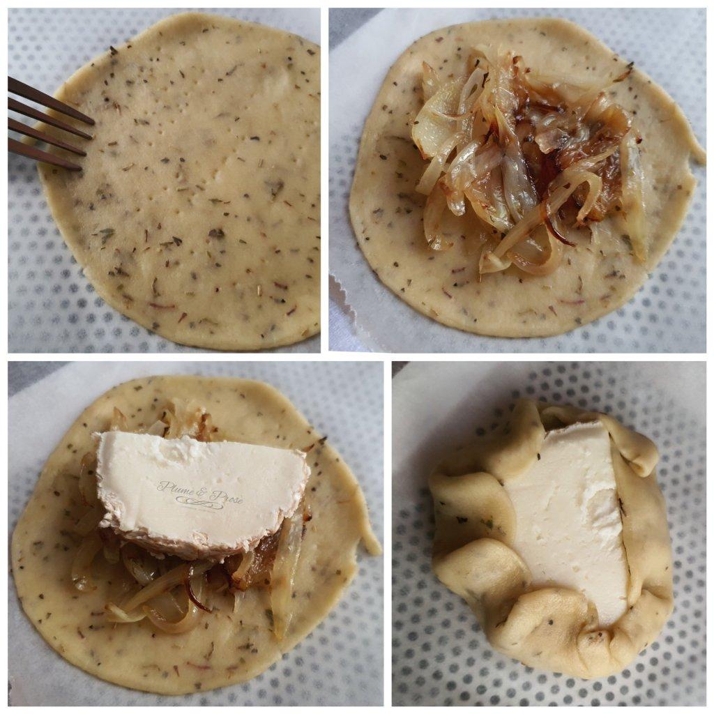 Préparation des tartelettes rustiques, oignons confits et chèvre