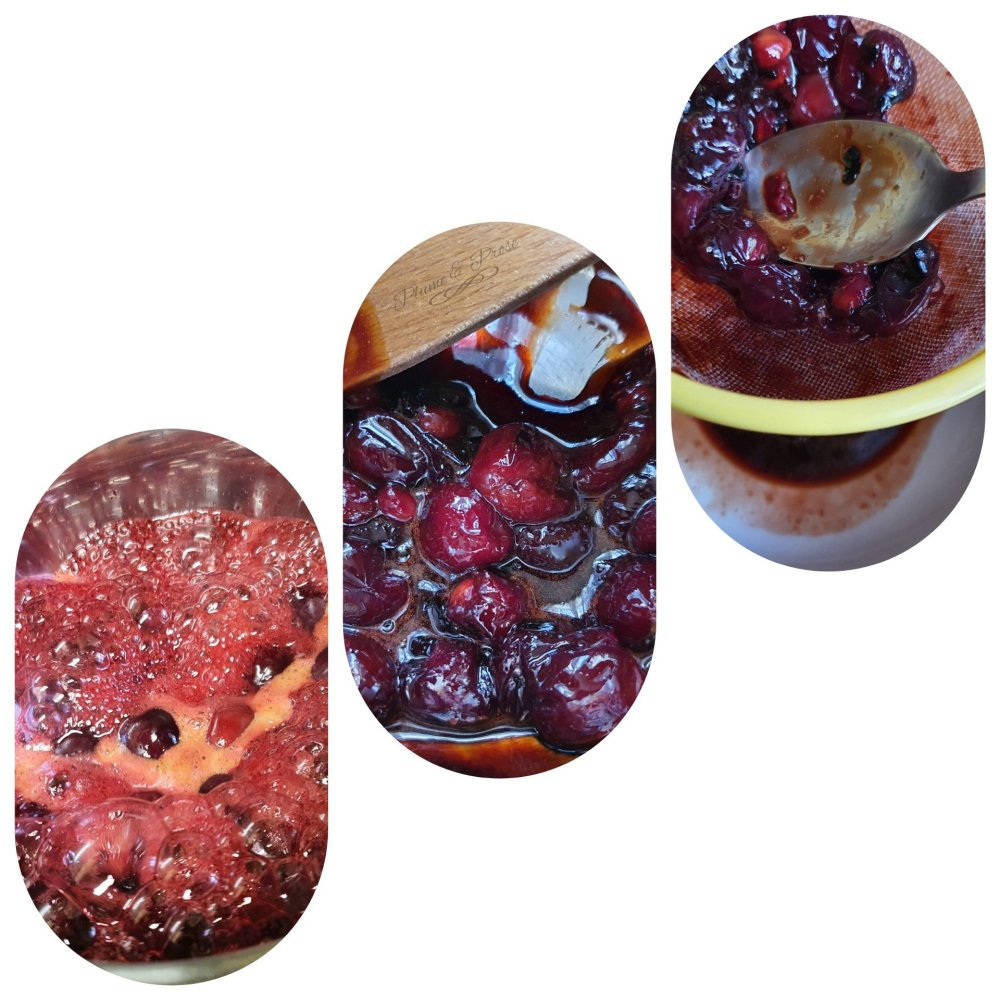 Préparation du coulis de cerises