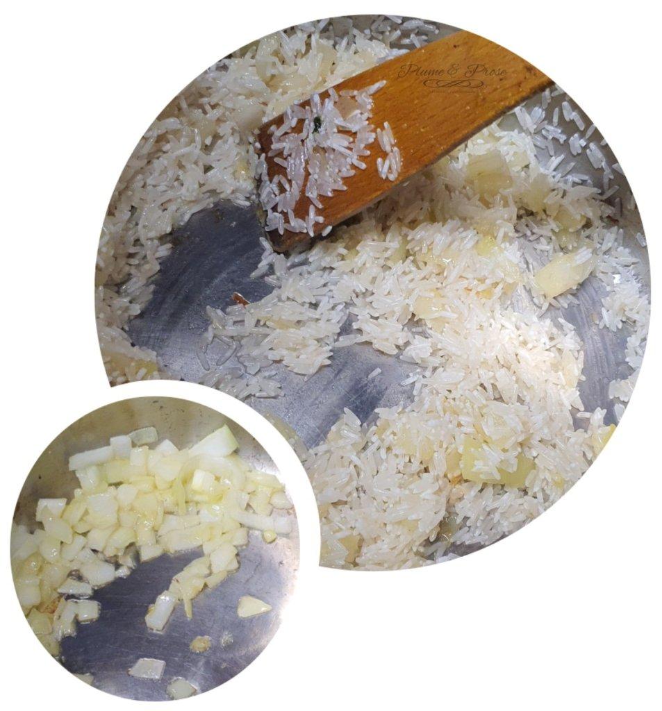 Préparation du riz jaune