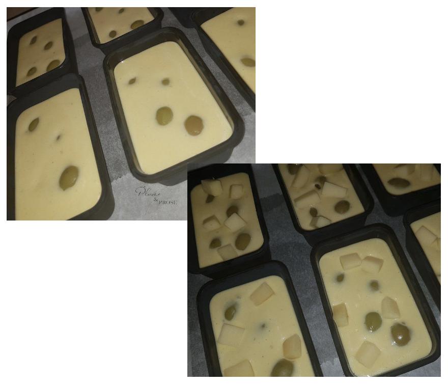 Préparation des mini cakes salés aux olives et comté